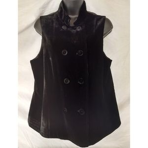 J.Jill Black Velvet Double Breasted Vest